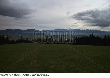 Predna Magura Hill, Low Tatras, Slovakia: Dark Heavy Storm Clouds Over The Liptovska Mara Dam And Th