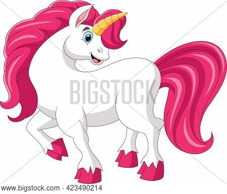 Cute Pony Pose And Smile On A White Background
