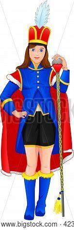Cute Girl Wearing A Marching Band Leader Costume