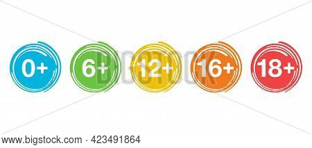 Age Limits Badges Set For Censoring Of Different Categories For Children And Adults - 0, 6, 12, 16,