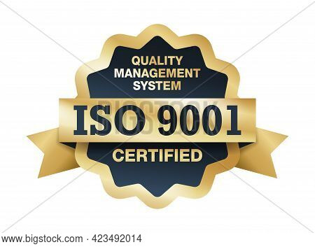Iso 9001 Medal - Conformity To Standards Icon - Golden Medal Award With International Quality Manage