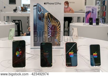 Sale Of The New Apple Iphone 12 From Apple Inc. In A Shopping Center. Apple Authorized Shop. Russia,