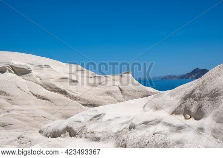 Lunar Landscape At Sarakiniko Beach, Milos Island, Cyclades Greece, Abstract Natural Rock Shapes. Wh