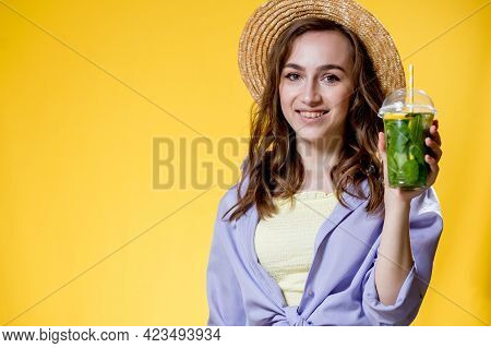 Summer Refreshment. Cold Beverage. Young Woman With Plastic Cup Of Fresh Cocktail Non-alcoholic Drin