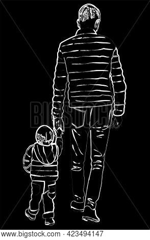 Contour Rawing Of Silhouettes Father And His Baby Walking For A Stroll