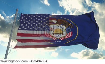 Flag Of Usa And Utah State. Usa And Utah Mixed Flag Waving In Wind. 3d Rendering