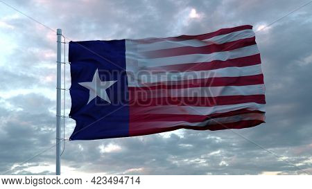 Usa And Texas Mixed Flag Waving In Wind. Texas And Usa Flag On Flagpole. 3d Rendering