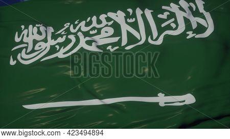 Saudi Arabia Flag Waving In The Wind. Sign Of Saudi Arabia Waving Against A Blue Sky. 3d Rendering