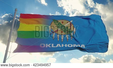 Flag Of Oklahoma And Lgbt. Oklahoma And Lgbt Mixed Flag Waving In Wind. 3d Rendering