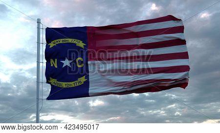 Usa And North Carolina Mixed Flag Waving In Wind. North Carolina And Usa Flag On Flagpole. 3d Render