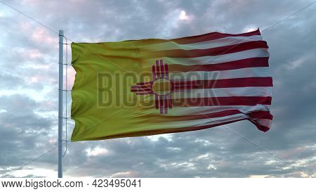 Usa And New Mexico Mixed Flag Waving In Wind. New Mexico And Usa Flag On Flagpole. 3d Rendering