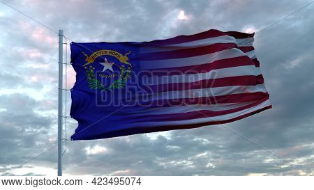 Usa And Nevada Mixed Flag Waving In Wind. Nevada And Usa Flag On Flagpole. 3d Rendering