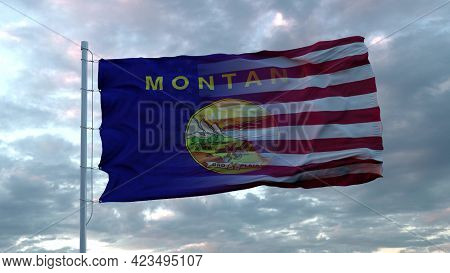 Usa And Montana Mixed Flag Waving In Wind. Montana And Usa Flag On Flagpole. 3d Rendering