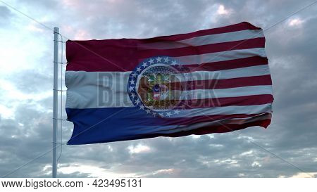 Usa And Missouri Mixed Flag Waving In Wind. Missouri And Usa Flag On Flagpole. 3d Rendering