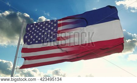 Flag Of Usa And Mississippi State. Usa And Mississippi Mixed Flag Waving In Wind. 3d Rendering
