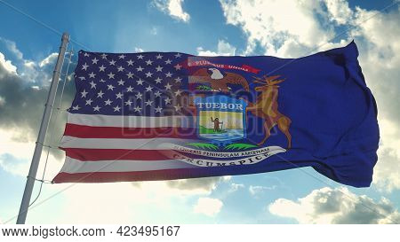 Flag Of Usa And Michigan State. Usa And Michigan Mixed Flag Waving In Wind. 3d Rendering