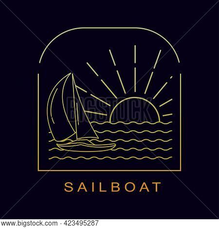 Sailboat Vehicle In The Ocean Isolated Mono Line Style Design Vector Illustration
