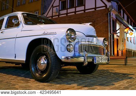 Gdansk, Poland, Oct 4, 2018: Old Vintage White Fso Warszawa Car Released Circa 1965 In Warsaw, Polan