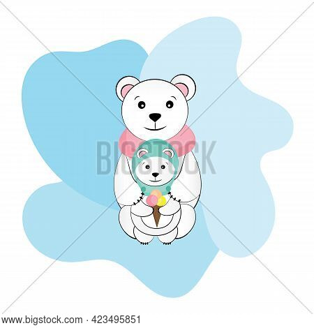 Greeting Card With Polar Bear Family. Mother Bear Cuddling Her Cub. Mom And I. Vector Illustration F