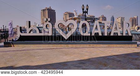 Doha, Qatar- July 31 2020: Porto Arabia  In The Pearl Doha, Qatar Daylight Shot Showing Love Qatar S