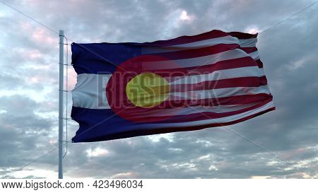 Usa And Colorado Mixed Flag Waving In Wind. Colorado And Usa Flag On Flagpole. 3d Rendering