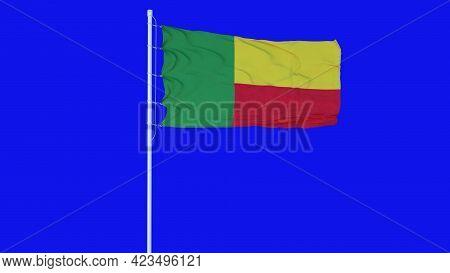 Benin Flag Waving On Wind On Blue Screen Or Chroma Key Background. 3d Rendering
