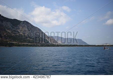 View Of The Antalya From The Mediterranean Sea - Antalya, Turkey. A View Of The Peaks Of The Mountai