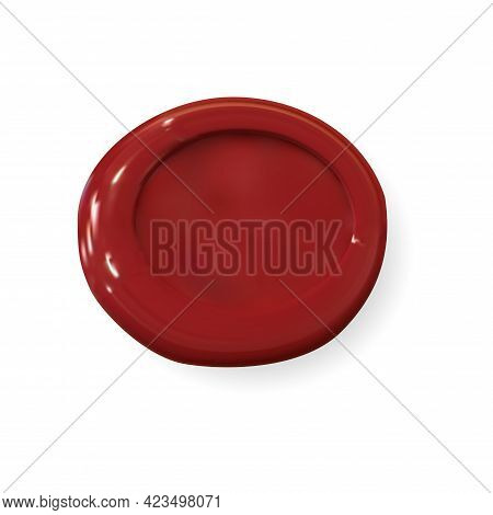 Wax Seal Mockup. Round Red Stamp, 3d Vector Medallion Isolated. Realistic Old Signet, Letter Label D