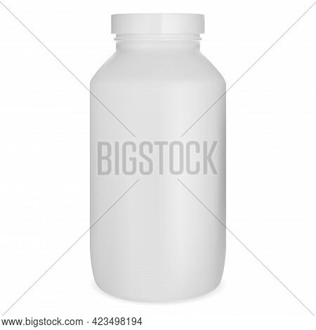 White Pill Bottle, Medicine Jar Mockup, Supplement Capsule Can Isolated On White Background. Medical