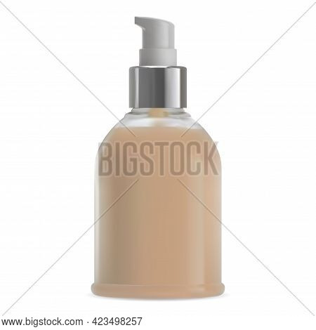 Makeup Pump Bottle Mockup. Shampoo Cosmetic Packaging. Bb Cream Foundation Airless Dispenser Package