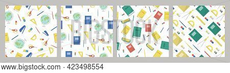 Set Of Patterns School Supplies And Office Stationary On White Background. Back To School, Education