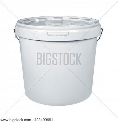 White Plastic Bucket Isolated On White Background. White Plastic Bucket Without Label With White Lid