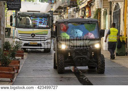 Jerusalem, Israel - June 3rd, 2021: Colorful Umbrellas Hanging Over A Jerusalem, Israel, Street, Ref