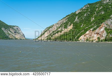 Danube River At The Iron Gates Djerdapska Klisura Gorge Between Serbia And Romania