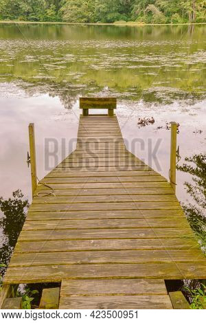 Luscious Trees And Bushes Surround Abbot`s Pond\'s Motionless Water And Mildewed Dock At Abbot`s Mil