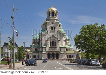 Sofia, Bulgaria - May 18 2019: The St. Alexander Nevsky Cathedral Is A Bulgarian Orthodox Cathedral