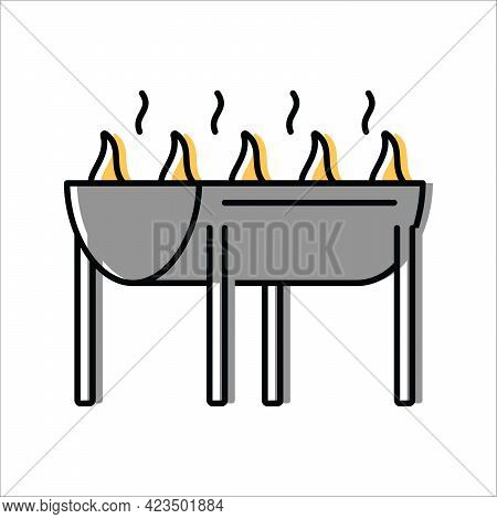 Barbecue Grill. Grilling Food. Vector Icon In Flat Style