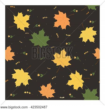 Seamless Vector Pattern With Maple Leaves. Suitable For Textiles, Decoration, Screen Saver, Web, Cov