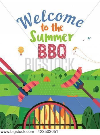 Summer Outdoors Concept. Cartoon Retro Style Poster. Welcome Invitation To Barbecue Picnic. Holiday