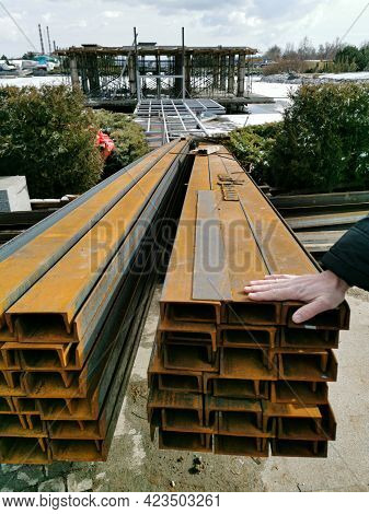 Steel Channel On A Construction Site. The Use Of Steel Channel To Strengthen The Foundation Of The H