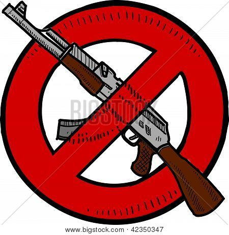 Doodle style Assault Weapons Ban, rifle, or gun control illustration in vector format. poster