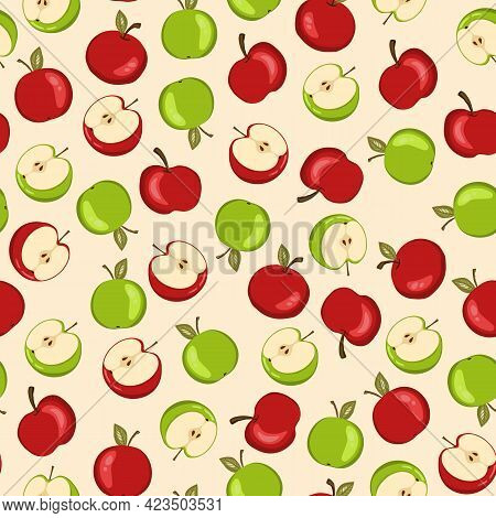 Seamless Pattern With Apple On White Background. Natural Delicious Fresh Ripe Tasty Fruit. Vector Il