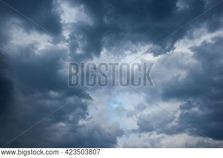 A Still Sky With Slowly And Melancholically Passing Clouds, Floating Away In A Gray Agony, Gently Sh