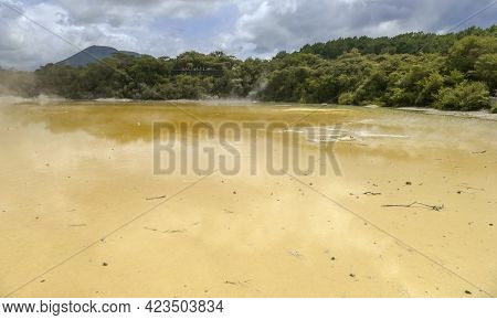 Champagne Pool At A Geothermal Area Named Waiotapu In New Zealand