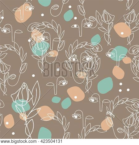 Boho Colors Seamless Pattern With Abstract Outline Of Surreal Women Faces On Craft Paper Background.