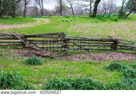 A Rural Farm Ranch Yard Field With Natural Made Wood Timber Fence And Lush Grassland And Trees.