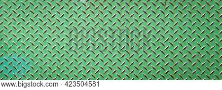 A Vintage Retro Green Rusted Diamond Plate Steel Metal Floor Step Or Platform.