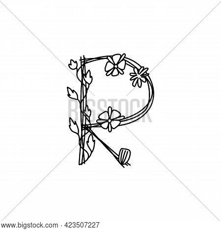 Vintage Floral Bold Letter R Logo Spring. Classic Summer Letter Design Vectors With Black Color And