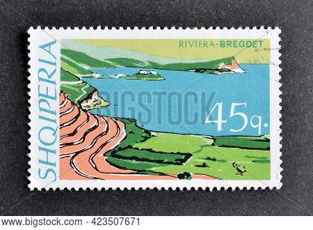 Albania - Circa 1967 : Cancelled Postage Stamp Printed By Albania, That Shows Shore Of Bregdet Rivie