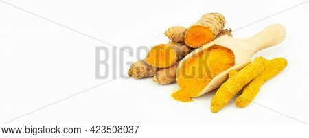 Turmeric Powder In Spoon And Turmeric Root Isolated On White Background, Spice Concept, ( Curcuma Lo